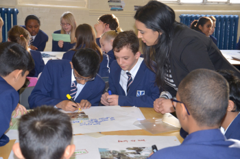 pupils from Heath Park working on Big Ideas with mentor helping them