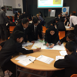kids working on Big Ideas Day posters at Hodge Hill College