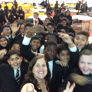 selfie with Hodge Hill College students